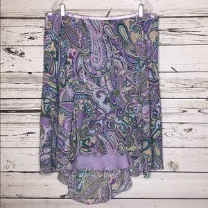 Lane Bryant 22/24 Purple Paisley High-Lo Hem Skirt
